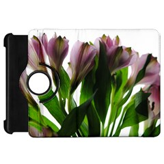 Pink Flowers On White Kindle Fire Hd Flip 360 Case by bloomingvinedesign