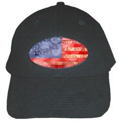 Distressed American Flag Black Baseball Cap by bloomingvinedesign