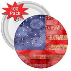 Distressed American Flag 3  Button (100 Pack) by bloomingvinedesign