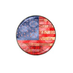 Distressed American Flag Golf Ball Marker (for Hat Clip) by bloomingvinedesign