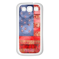 Distressed American Flag Samsung Galaxy S3 Back Case (white) by bloomingvinedesign