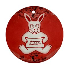 Cute Bunny Happy Easter Drawing Illustration Design Round Ornament by dflcprints
