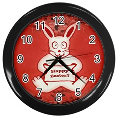 Cute Bunny Happy Easter Drawing Illustration Design Wall Clock (black) by dflcprints