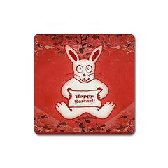 Cute Bunny Happy Easter Drawing Illustration Design Magnet (square) by dflcprints