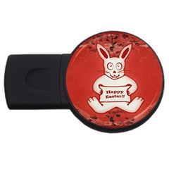 Cute Bunny Happy Easter Drawing Illustration Design 4gb Usb Flash Drive (round) by dflcprints