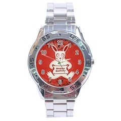 Cute Bunny Happy Easter Drawing Illustration Design Stainless Steel Watch by dflcprints