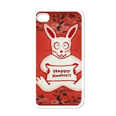 Cute Bunny Happy Easter Drawing Illustration Design Apple Iphone 4 Case (white) by dflcprints