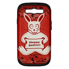 Cute Bunny Happy Easter Drawing Illustration Design Samsung Galaxy S Iii Hardshell Case (pc+silicone) by dflcprints