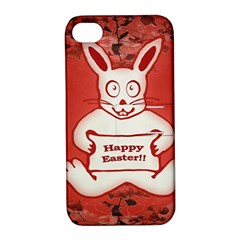 Cute Bunny Happy Easter Drawing Illustration Design Apple Iphone 4/4s Hardshell Case With Stand by dflcprints
