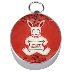 Cute Bunny Happy Easter Drawing Illustration Design Silver Compass by dflcprints
