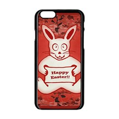 Cute Bunny Happy Easter Drawing Illustration Design Apple Iphone 6 Black Enamel Case by dflcprints