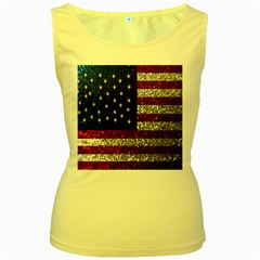 American Flag In Glitter Photograph Women s Tank Top (yellow) by bloomingvinedesign
