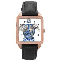Peace Turtle Rose Gold Leather Watch  by oddzodd