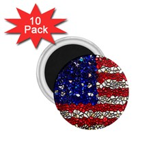 American Flag Mosaic 1 75  Button Magnet (10 Pack) by bloomingvinedesign