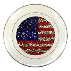 American Flag Mosaic Porcelain Display Plate by bloomingvinedesign