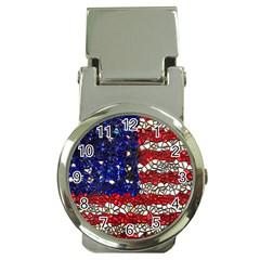 American Flag Mosaic Money Clip With Watch by bloomingvinedesign