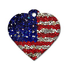 American Flag Mosaic Dog Tag Heart (one Sided)  by bloomingvinedesign