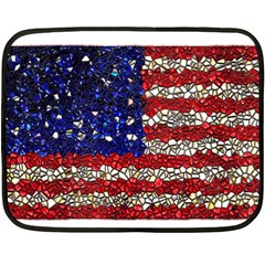 American Flag Mosaic Mini Fleece Blanket (two Sided) by bloomingvinedesign