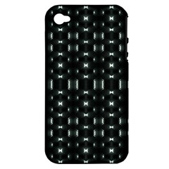 Futuristic Dark Hexagonal Grid Pattern Design Apple Iphone 4/4s Hardshell Case (pc+silicone) by dflcprints