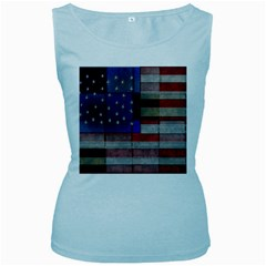 American Flag Quilt Women s Tank Top (Baby Blue) by bloomingvinedesign