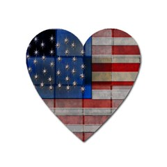American Flag Quilt Magnet (heart) by bloomingvinedesign