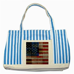 American Flag Quilt Blue Striped Tote Bag by bloomingvinedesign