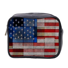American Flag Quilt Mini Travel Toiletry Bag (Two Sides) by bloomingvinedesign