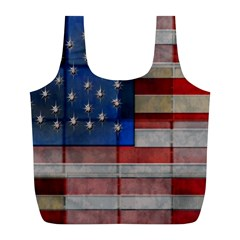 American Flag Quilt Reusable Bag (l) by bloomingvinedesign
