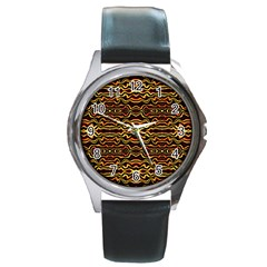 Tribal Art Abstract Pattern Round Leather Watch (silver Rim) by dflcprints