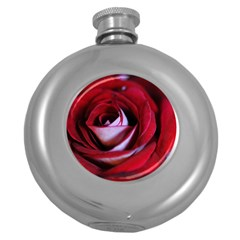 Red Rose Center Hip Flask (round) by bloomingvinedesign