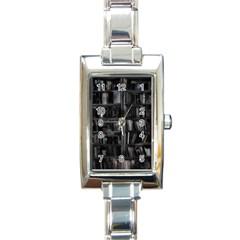 Black White Book Shelves Rectangular Italian Charm Watch by bloomingvinedesign