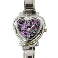 Lilacs Fade To Black And White Heart Italian Charm Watch  by bloomingvinedesign