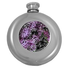 Lilacs Fade To Black And White Hip Flask (round) by bloomingvinedesign