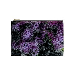 Lilacs Fade to Black and White Cosmetic Bag (Medium) by bloomingvinedesign