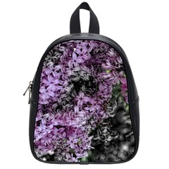 Lilacs Fade To Black And White School Bag (small) by bloomingvinedesign