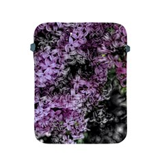 Lilacs Fade to Black and White Apple iPad Protective Sleeve by bloomingvinedesign