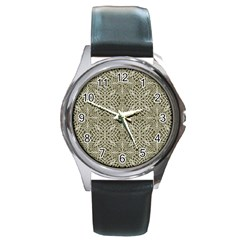 Silver Intricate Arabesque Pattern Round Leather Watch (silver Rim) by dflcprints