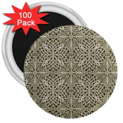Silver Intricate Arabesque Pattern 3  Button Magnet (100 Pack) by dflcprints