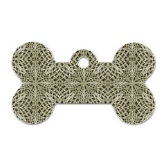 Silver Intricate Arabesque Pattern Dog Tag Bone (one Sided) by dflcprints
