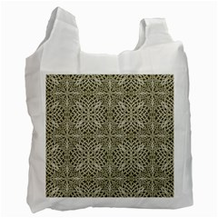 Silver Intricate Arabesque Pattern White Reusable Bag (one Side) by dflcprints