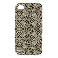 Silver Intricate Arabesque Pattern Apple Iphone 4/4s Premium Hardshell Case by dflcprints