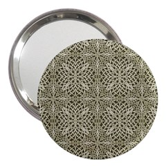 Silver Intricate Arabesque Pattern 3  Handbag Mirror by dflcprints