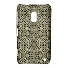 Silver Intricate Arabesque Pattern Nokia Lumia 620 Hardshell Case by dflcprints