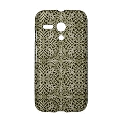 Silver Intricate Arabesque Pattern Motorola Moto G Hardshell Case by dflcprints