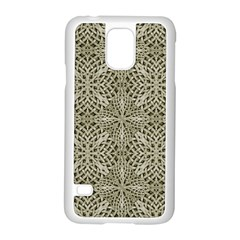 Silver Intricate Arabesque Pattern Samsung Galaxy S5 Case (white) by dflcprints