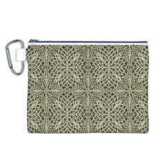 Silver Intricate Arabesque Pattern Canvas Cosmetic Bag (large) by dflcprints