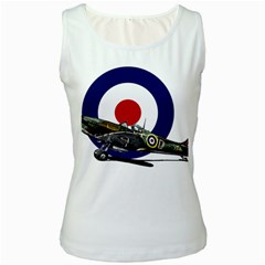 Spitfire And Roundel Women s Tank Top (White) by TheManCave