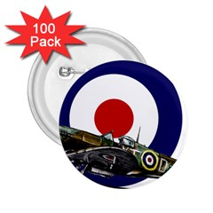 Spitfire And Roundel 2.25  Button (100 pack) by TheManCave