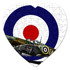 Spitfire And Roundel Jigsaw Puzzle (heart) by TheManCave