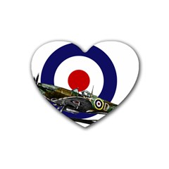Spitfire And Roundel Drink Coasters (Heart) by TheManCave